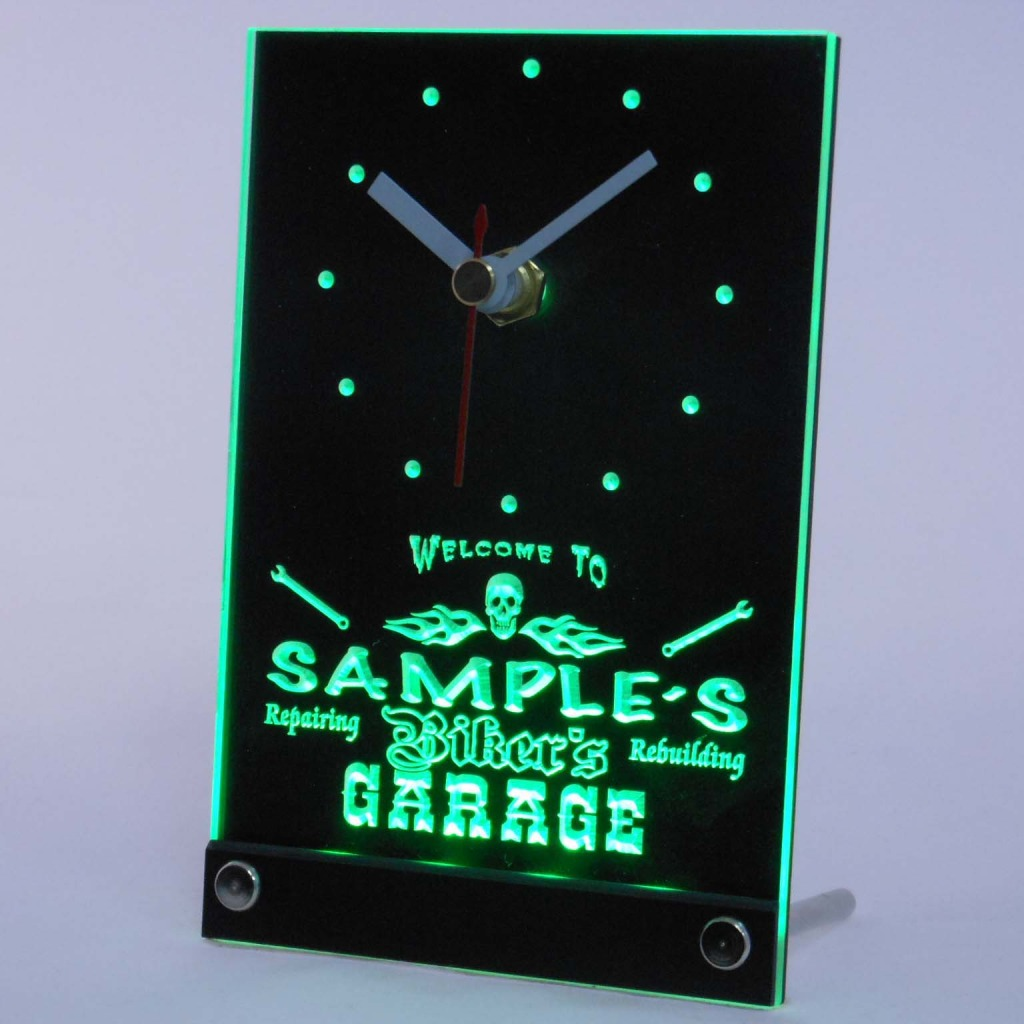 Personalized Biker's Skull Garage Bar Led Table Clock Green