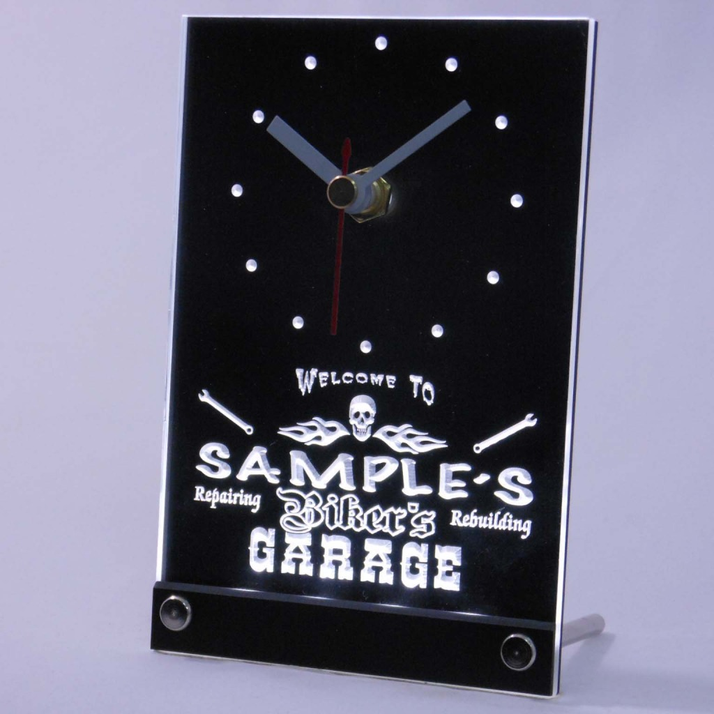 Personalized Biker's Skull Garage Bar Led Table Clock White