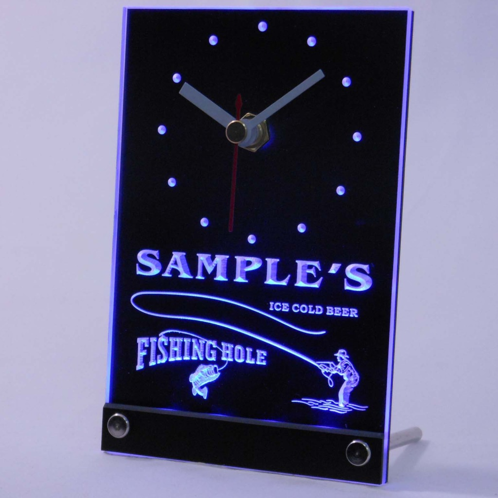 Personalized Fly Fishing Hole Bar Neon Led Table Clock Blue