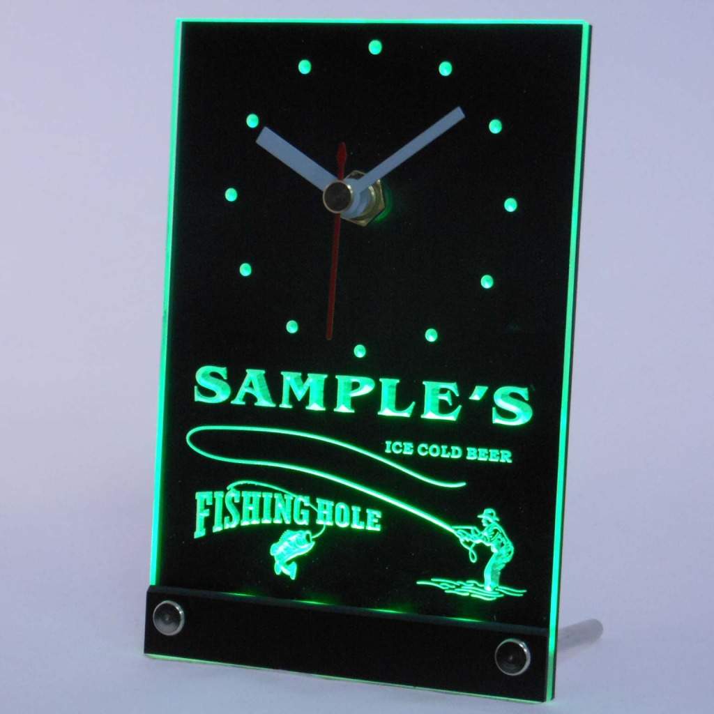 Personalized Fly Fishing Hole Bar Neon Led Table Clock Green