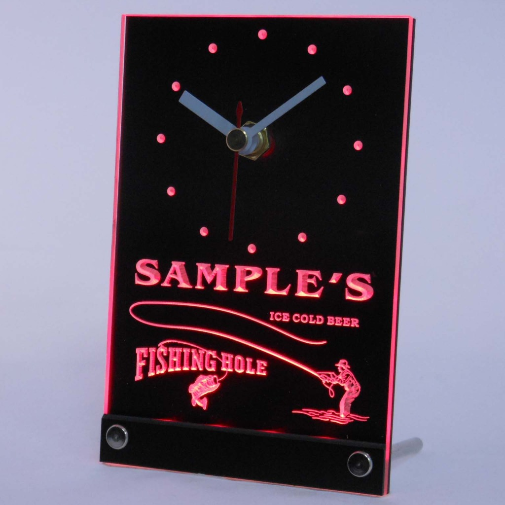 Personalized Fly Fishing Hole Bar Neon Led Table Clock Red