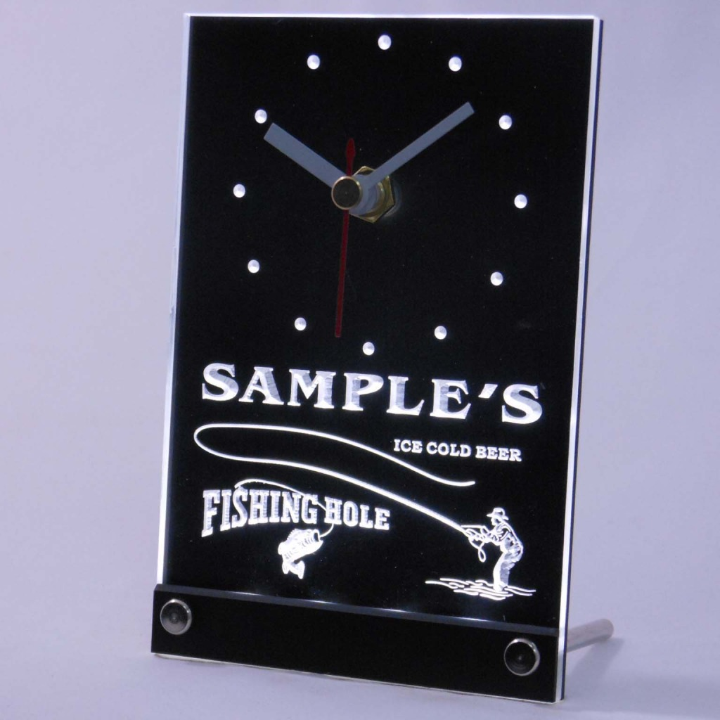 Personalized Fly Fishing Hole Bar Neon Led Table Clock White