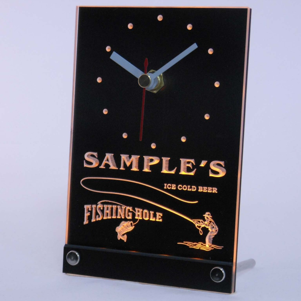 Personalized Fly Fishing Hole Bar Neon Led Table Clock Yellow