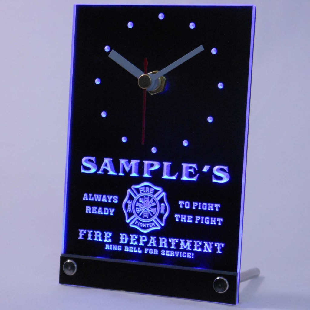 Personalized Firefighter Fire Dept Bar Led Table Clock Blue