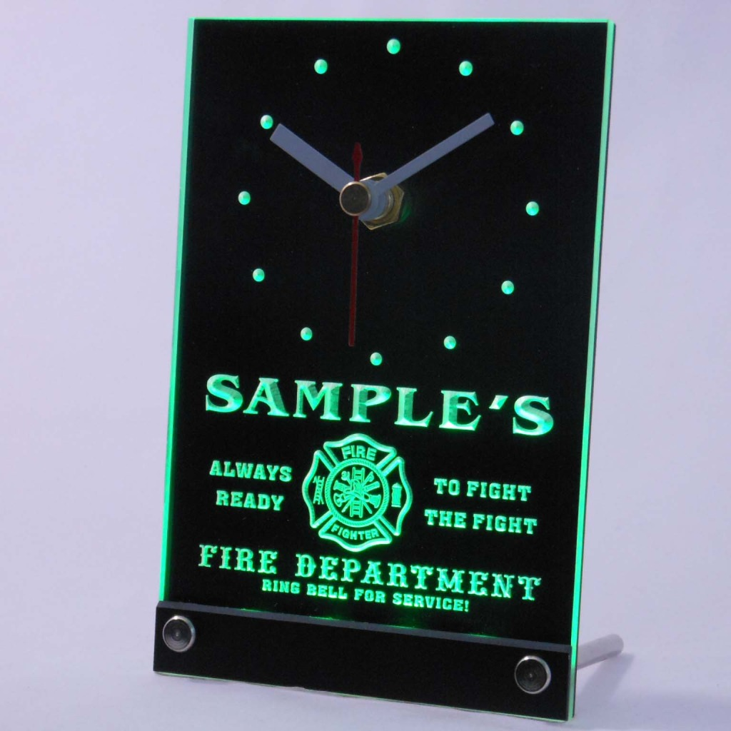 Personalized Firefighter Fire Dept Bar Led Table Clock Green
