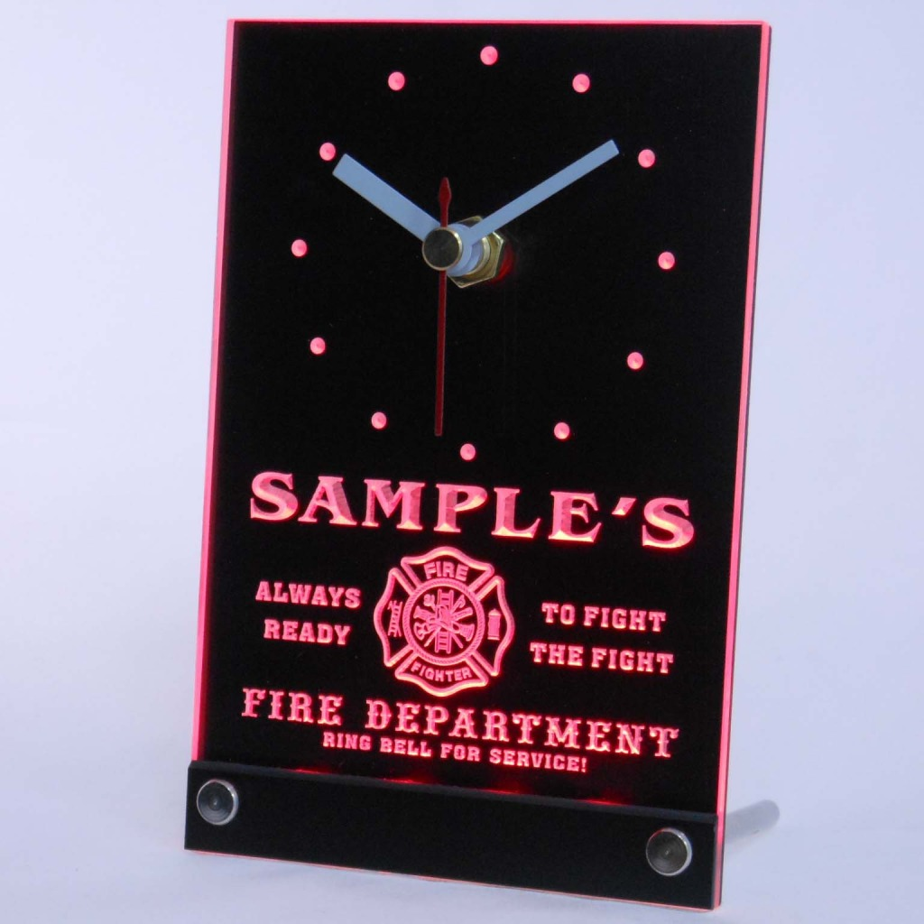 Personalized Firefighter Fire Dept Bar Led Table Clock Red