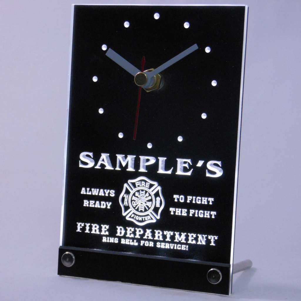 Personalized Firefighter Fire Dept Bar Led Table Clock White
