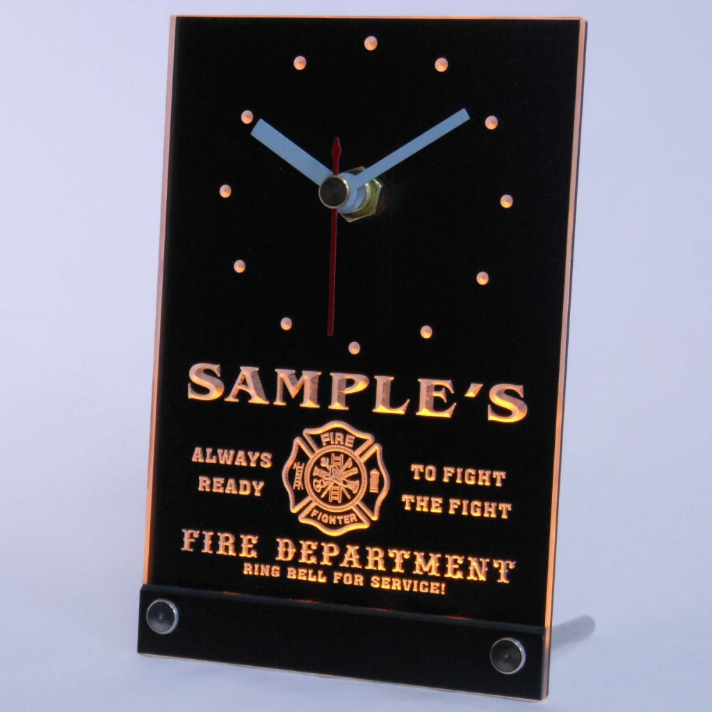 Personalized Firefighter Fire Dept Bar Led Table Clock Yellow