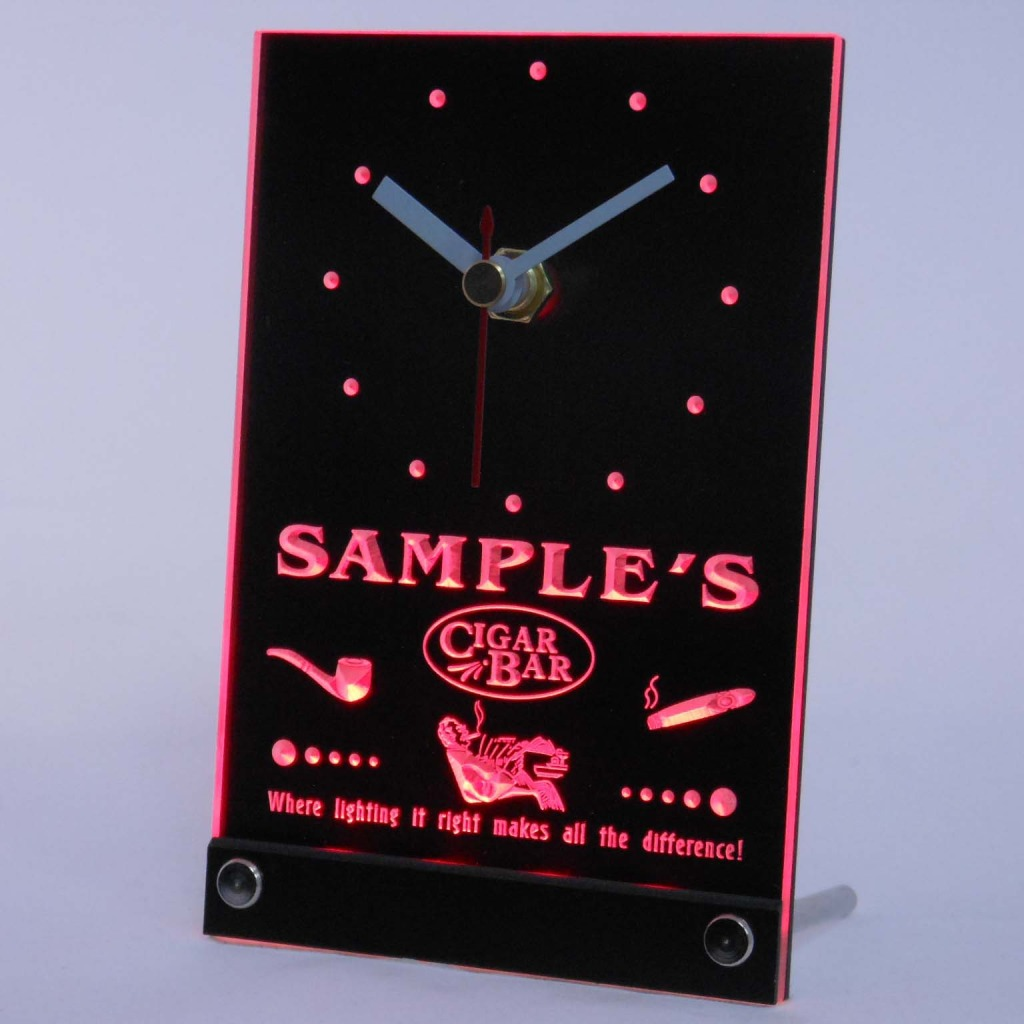 Personalized Cigar Pipe Bar Neon Led Table Clock Red