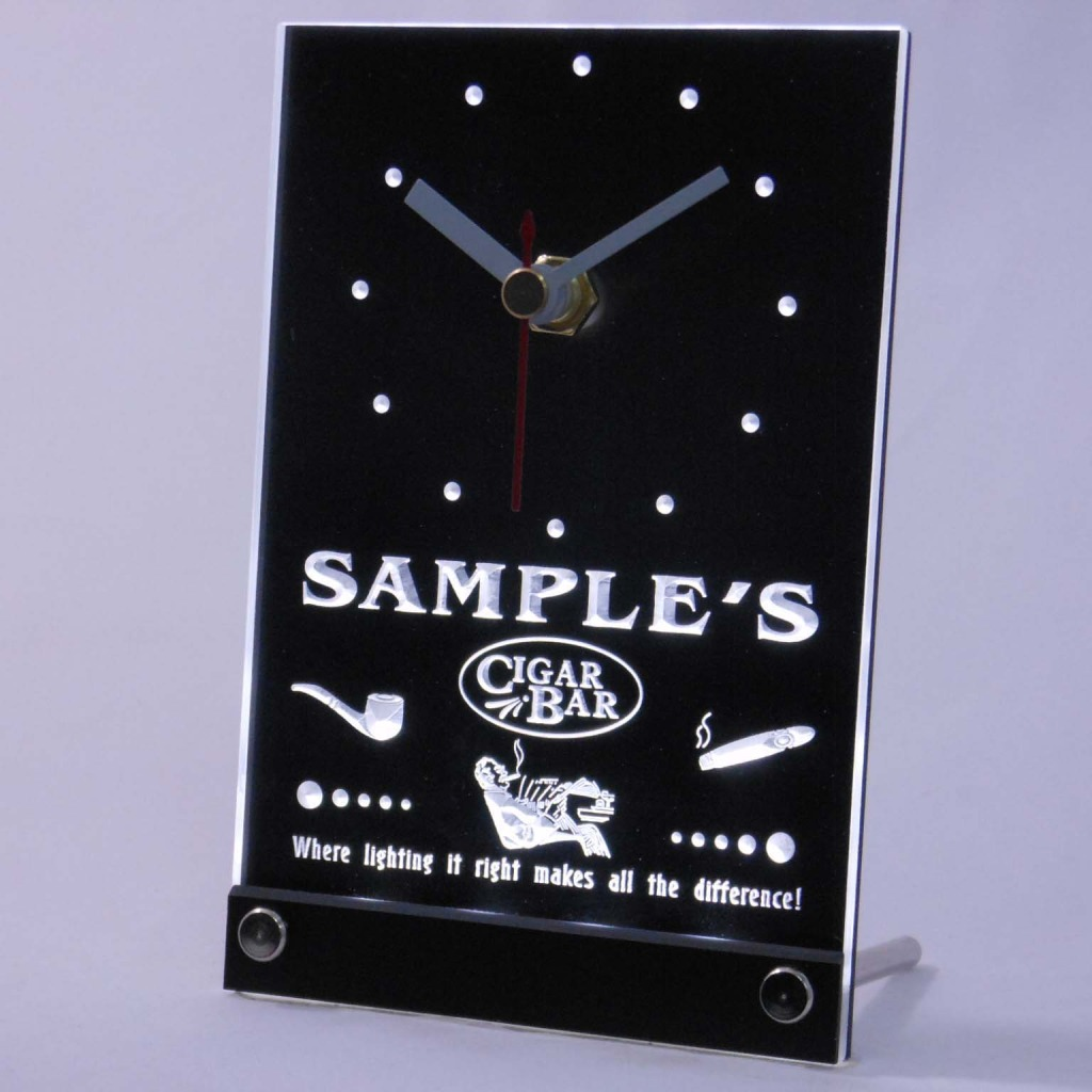 Personalized Cigar Pipe Bar Neon Led Table Clock White