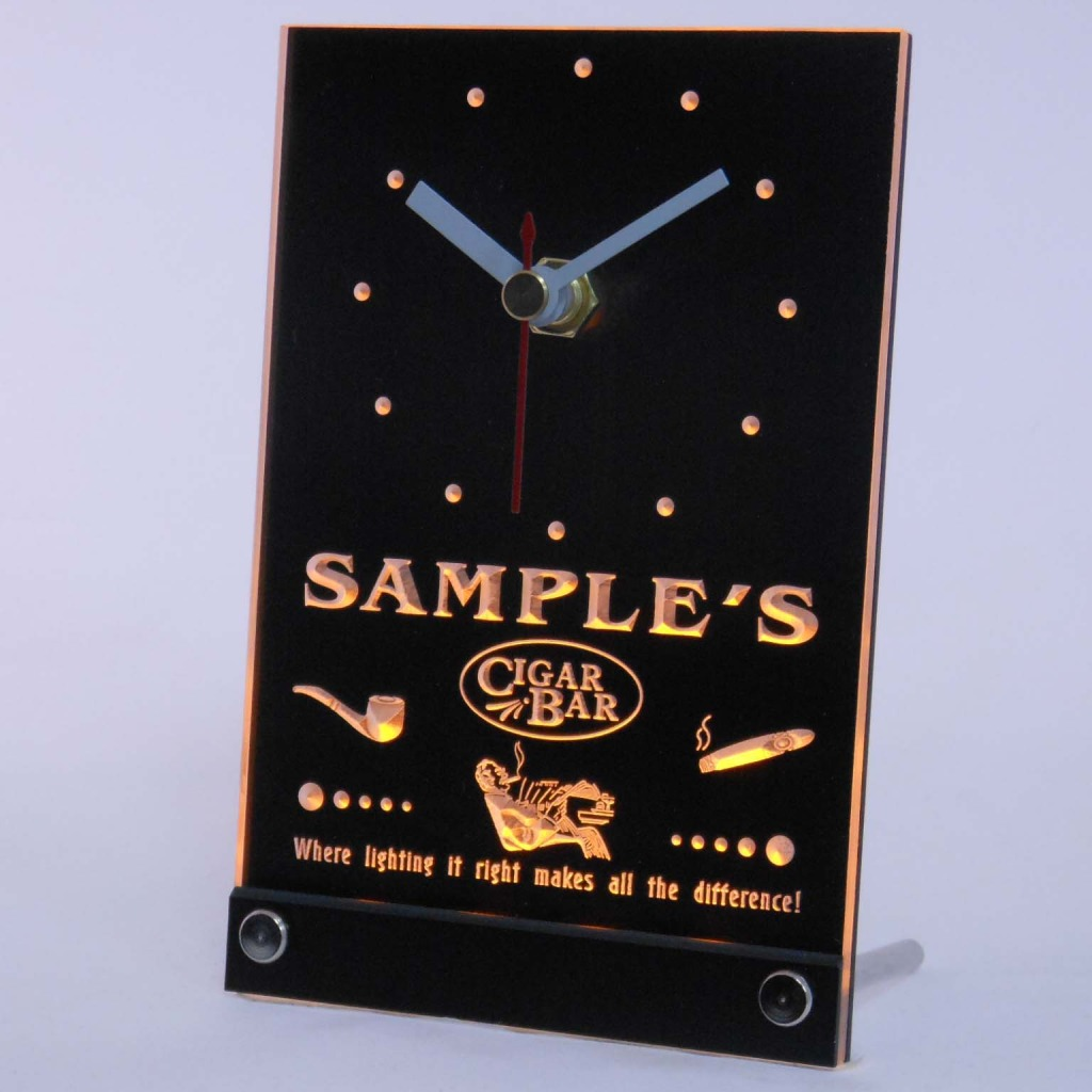 Personalized Cigar Pipe Bar Neon Led Table Clock Yellow