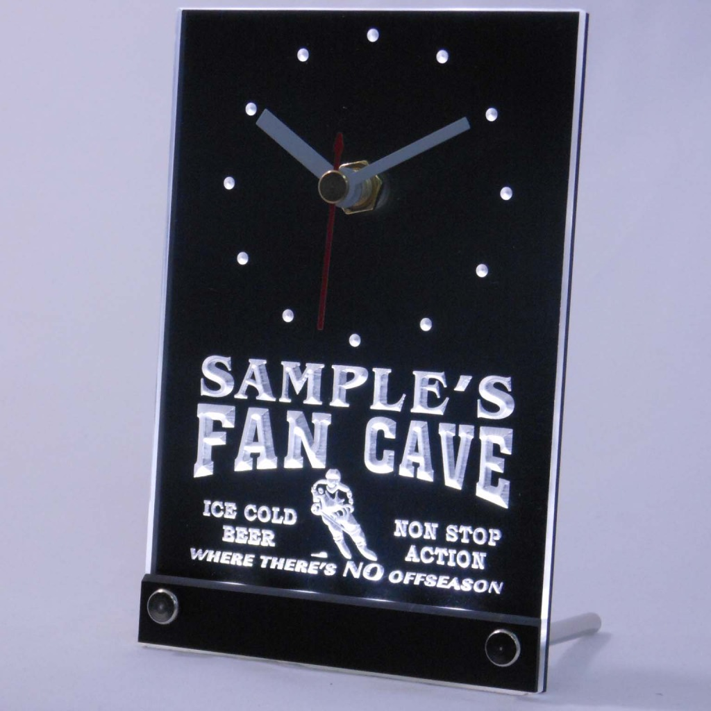 Personalized Custom Hockey Fan Cave Bar Led Table Clock White