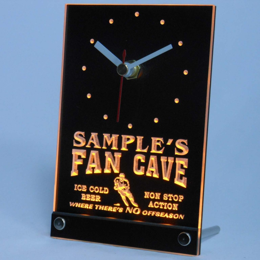 Personalized Custom Hockey Fan Cave Bar Led Table Clock Yellow