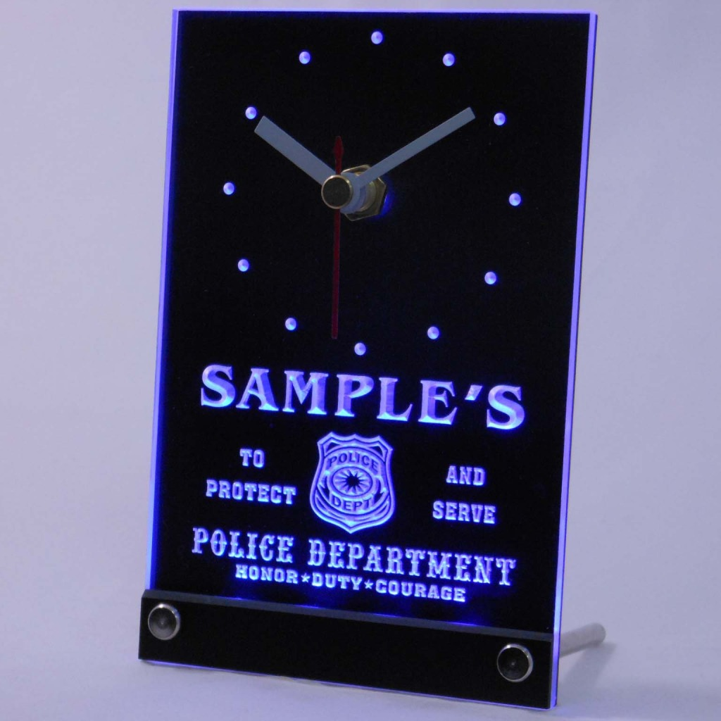 Personalized Police Station Badge Bar Led Table Clock Blue