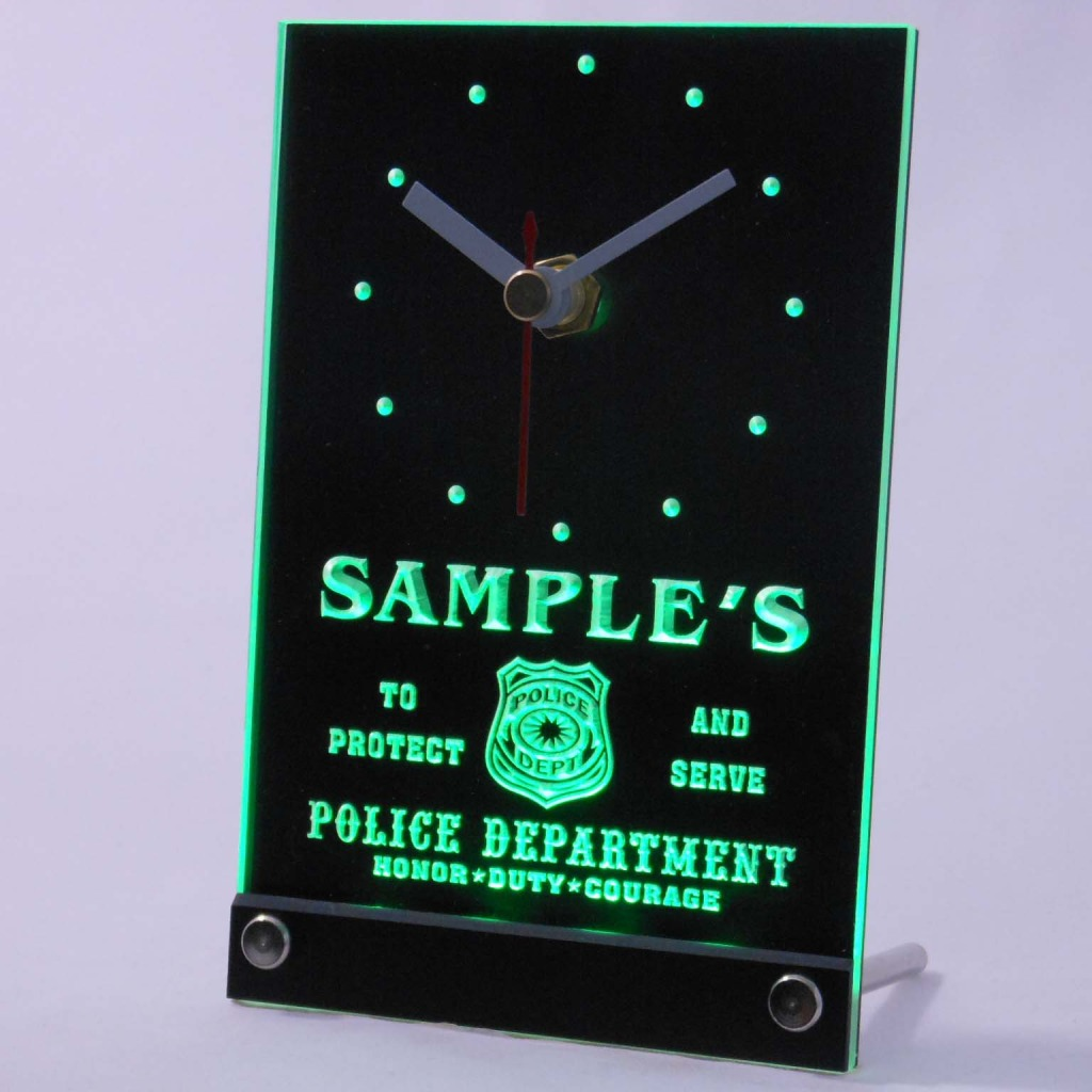 Personalized Police Station Badge Bar Led Table Clock Green