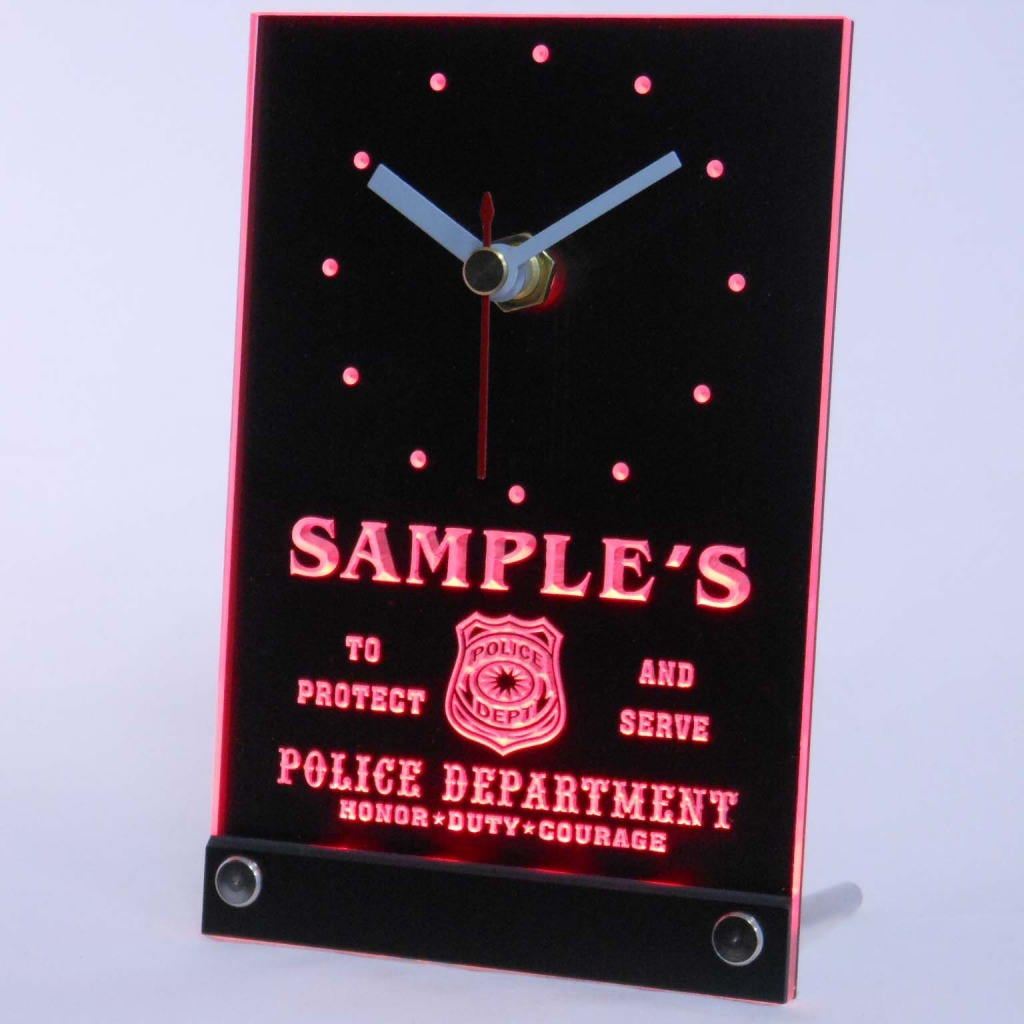 Personalized Police Station Badge Bar Led Table Clock Red