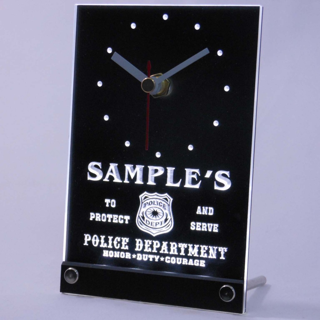 Personalized Police Station Badge Bar Led Table Clock White