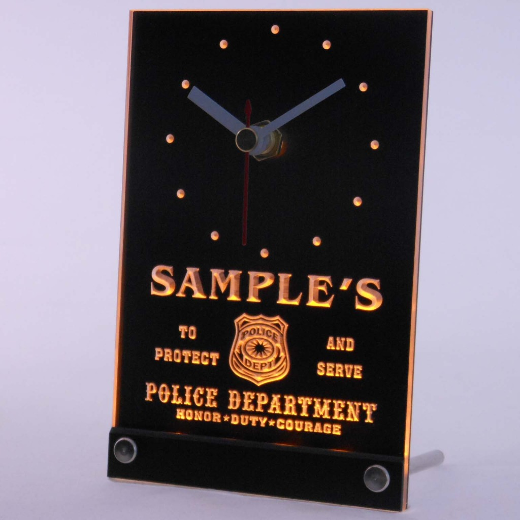 Personalized Police Station Badge Bar Led Table Clock Yellow