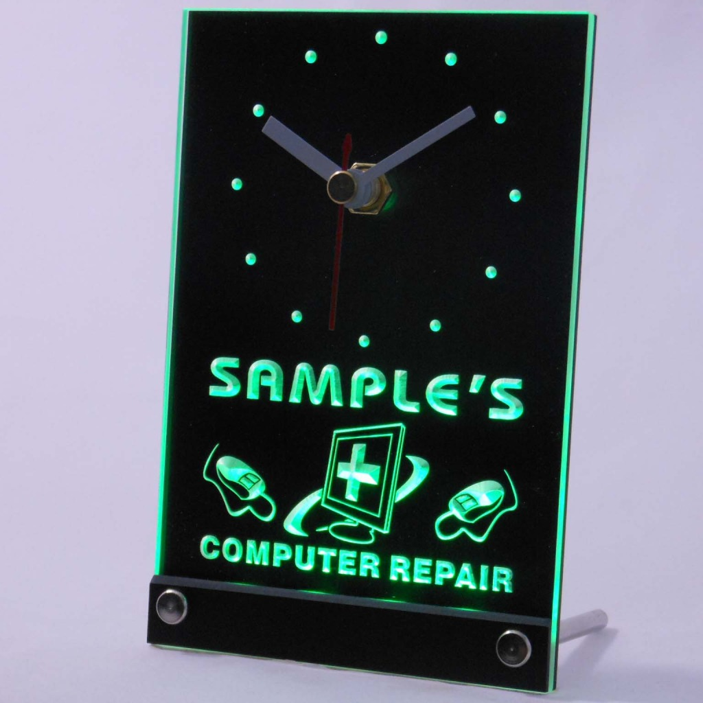 Personalized Computer Repair Shop Led Table Clock Green