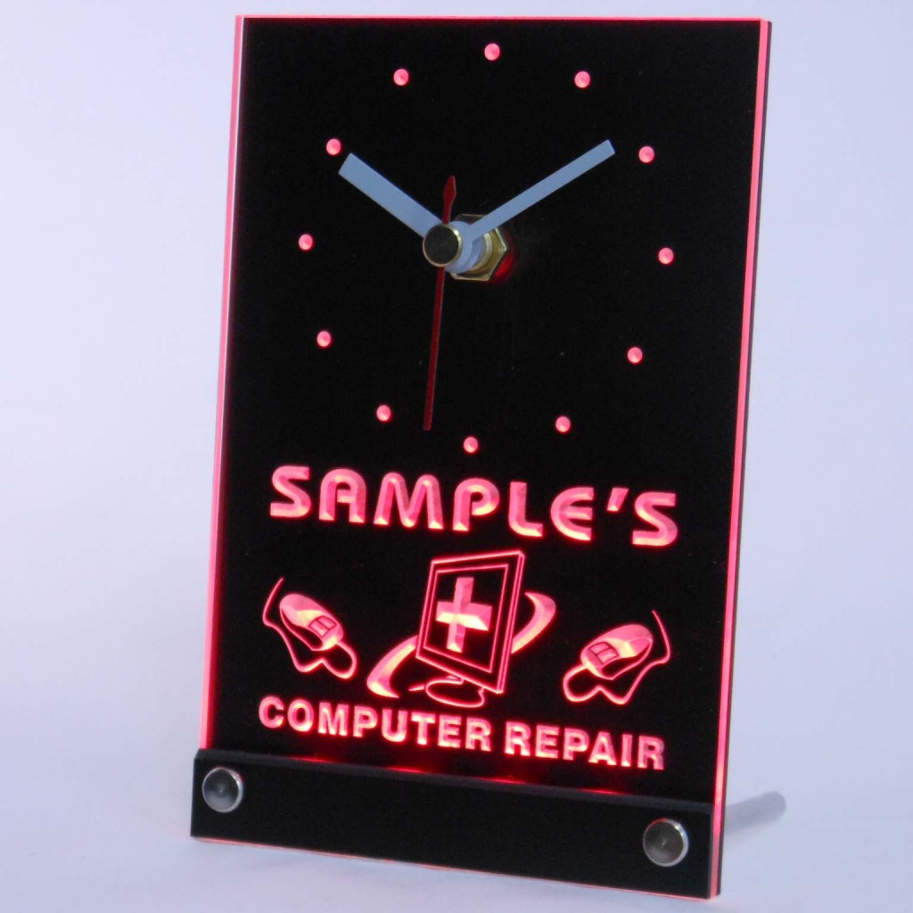 Personalized Computer Repair Shop Led Table Clock Red