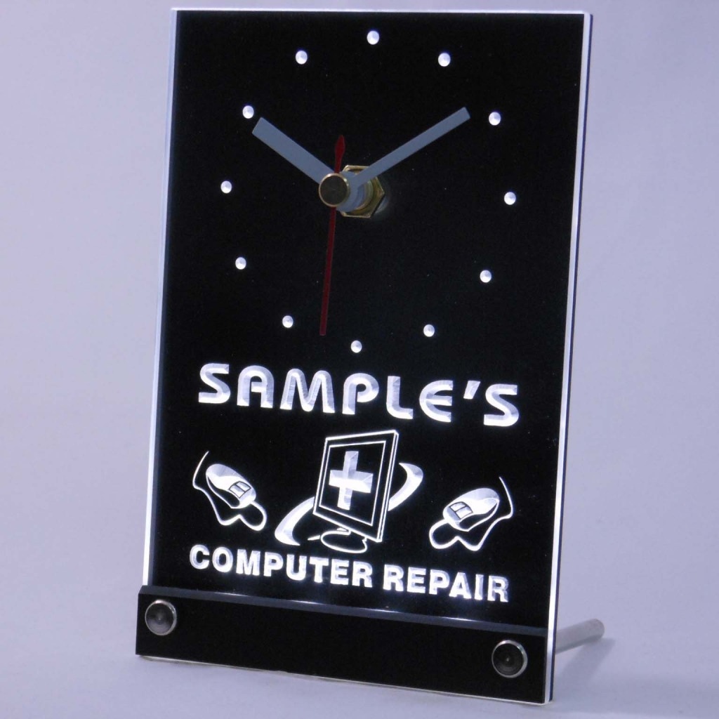 Personalized Computer Repair Shop Led Table Clock White