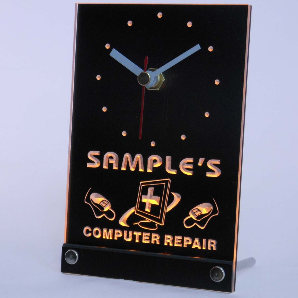 Personalized Computer Repair Shop Led Table Clock Yellow