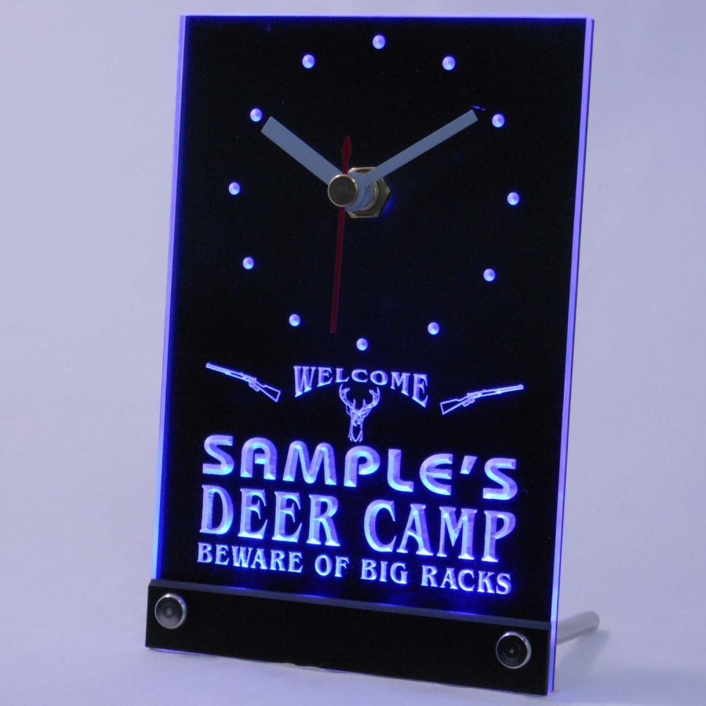 Personalized Deer Camp Big Racks Bar Led Table Clock Blue