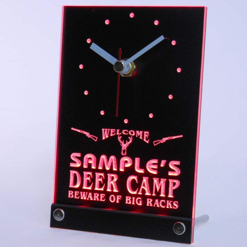 Personalized Deer Camp Big Racks Bar Led Table Clock Red