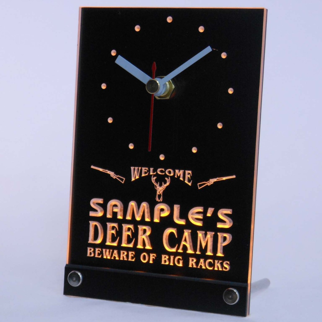 Personalized Deer Camp Big Racks Bar Led Table Clock Yellow