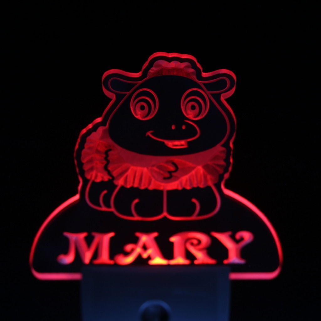 Baby Lamb Personalized Day Night Sensor LED Night Light Red