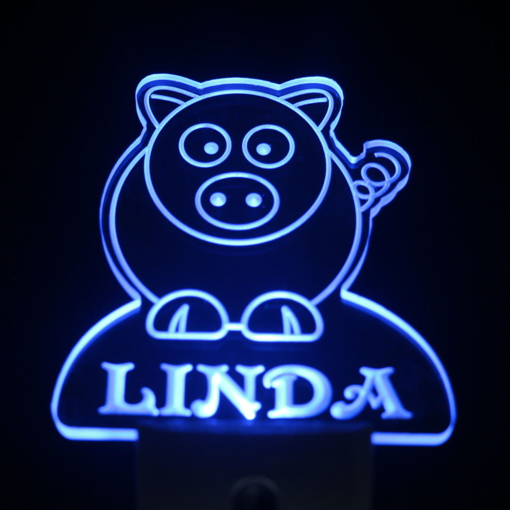 Pig Personalized Day Night Sensor LED Night Light Blue