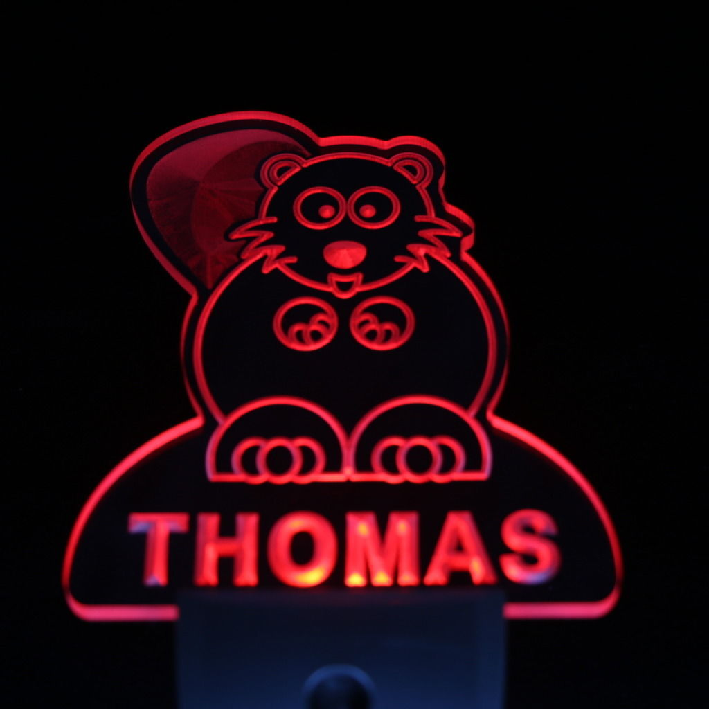 Beaver Personalized Day Night Sensor LED Night Light Red