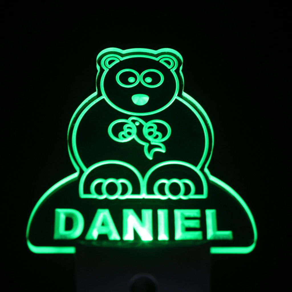 Bear Personalized Day Night Sensor LED Night Light Green