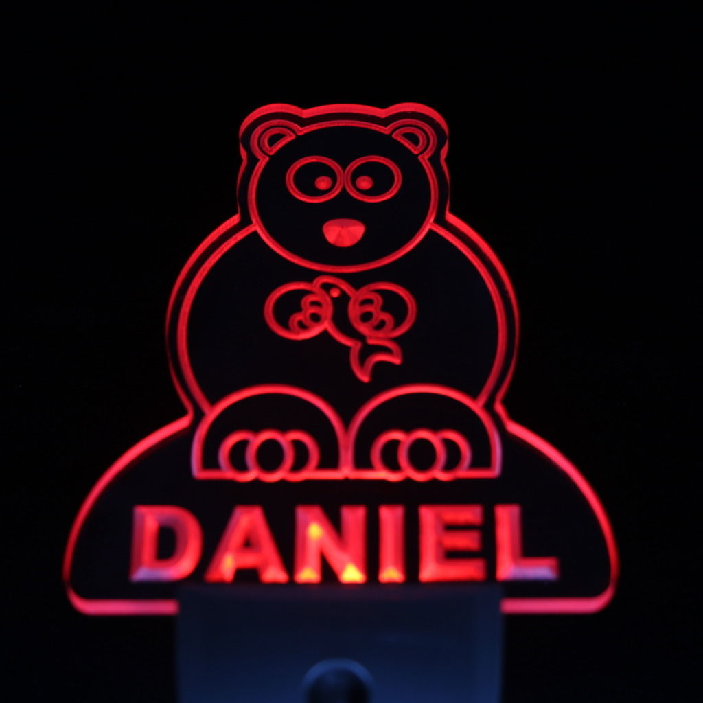 Bear Personalized Day Night Sensor LED Night Light Red