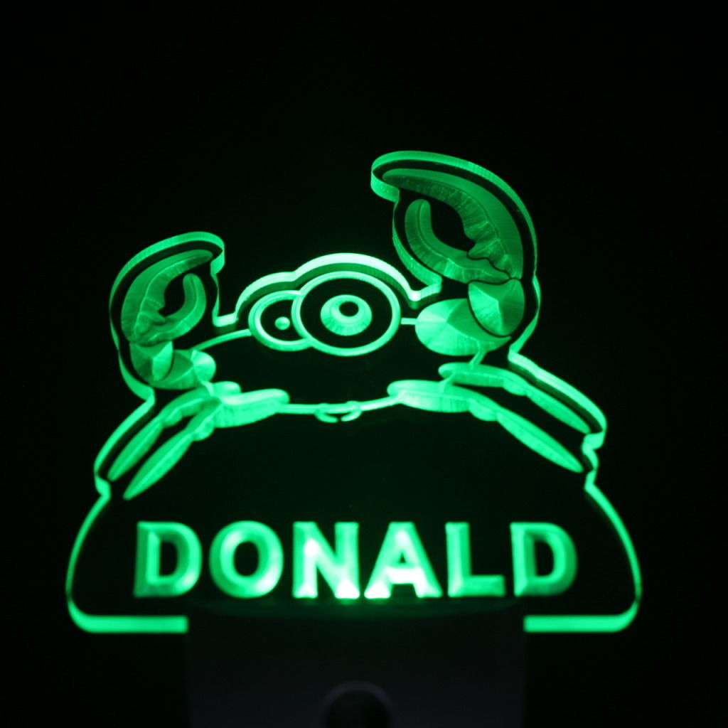 Crab Personalized Day Night Sensor LED Night Light Green