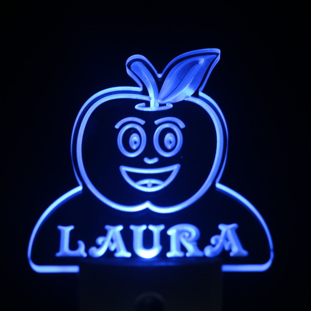 Apple Fruit Personalized Day Night Sensor LED Night Light Blue