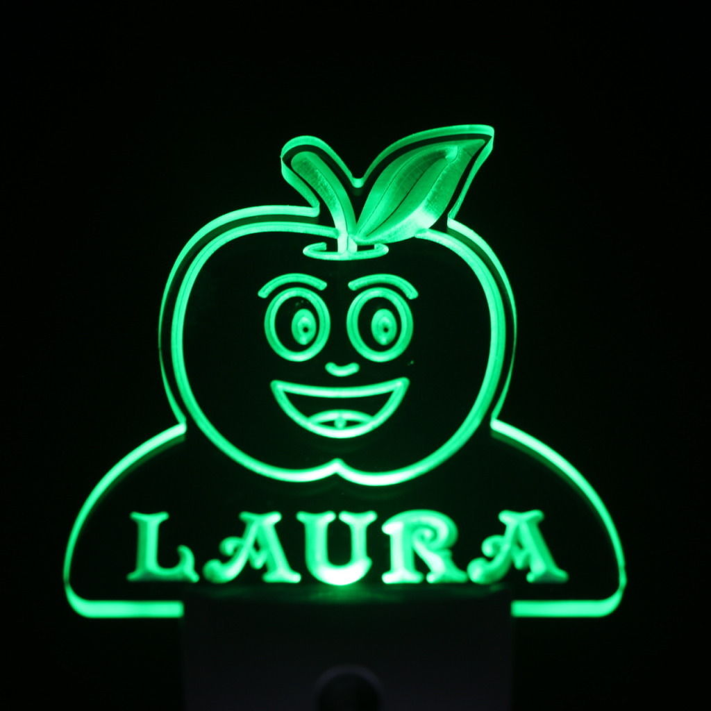 Apple Fruit Personalized Day Night Sensor LED Night Light Green