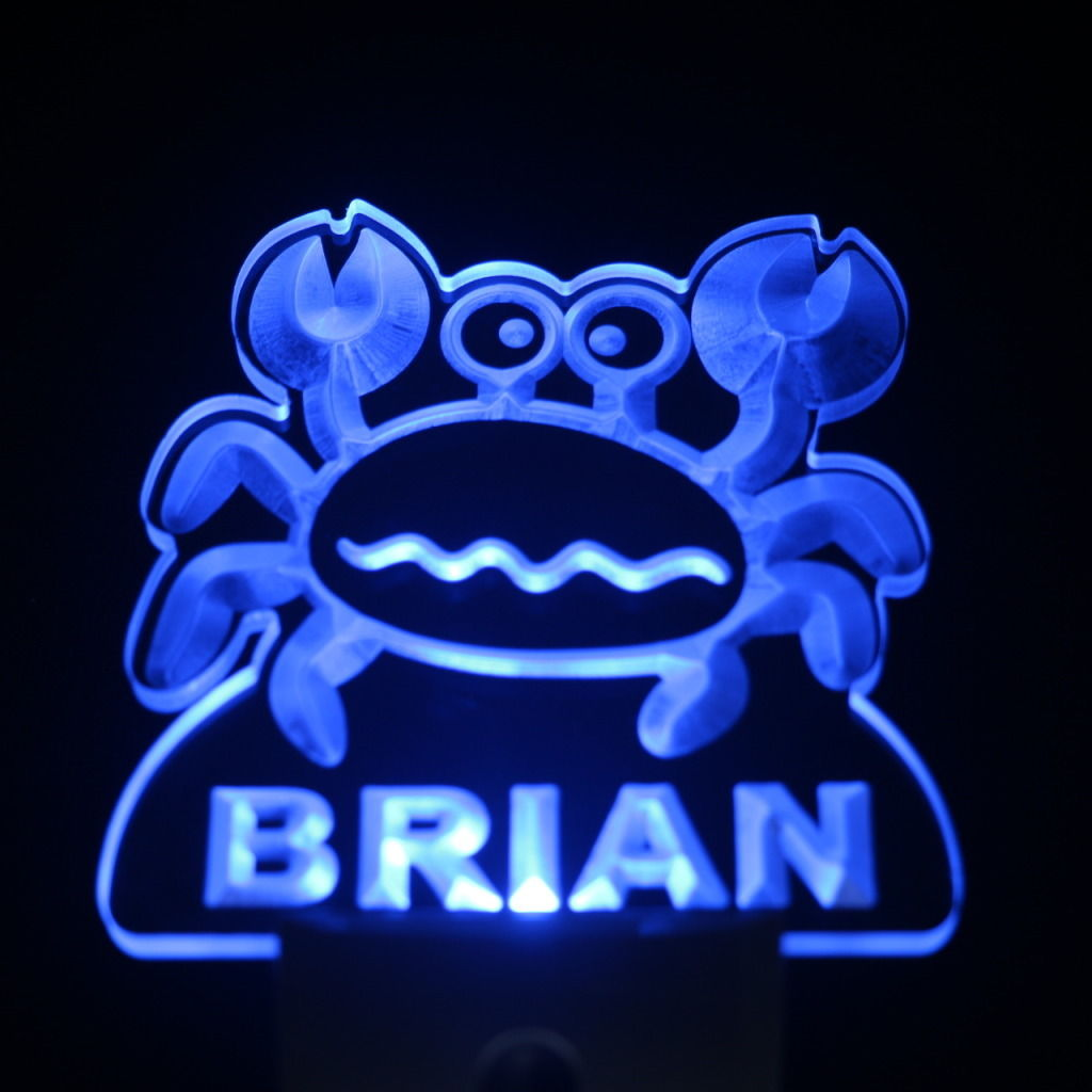 Snappy Crab Personalized Day Night Sensor LED Night Light Blue
