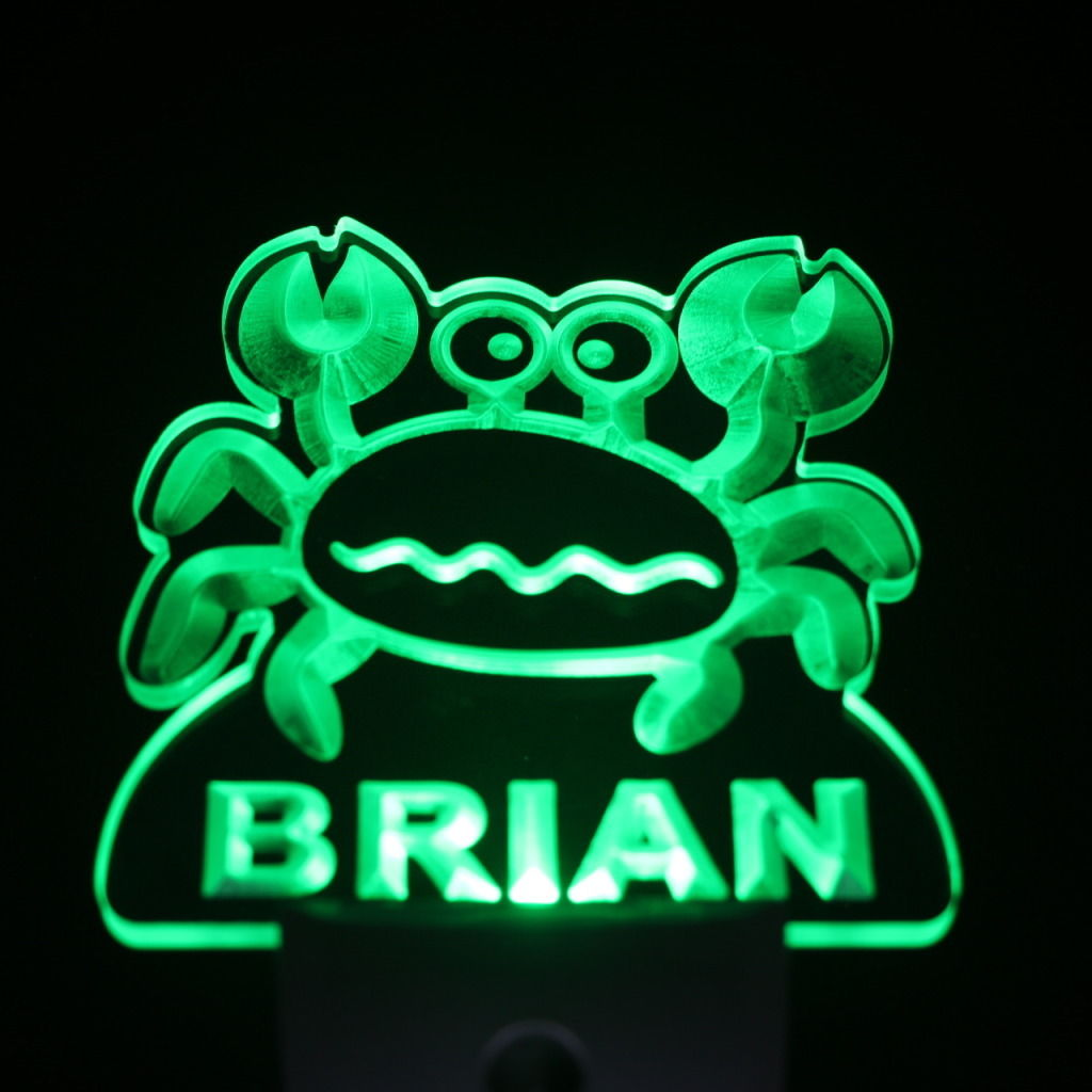Snappy Crab Personalized Day Night Sensor LED Night Light Green