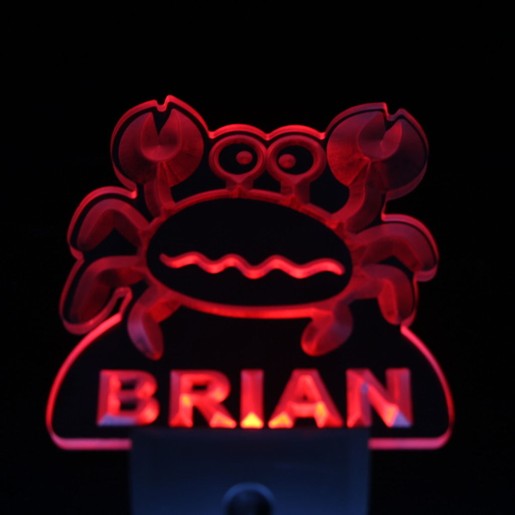 Snappy Crab Personalized Day Night Sensor LED Night Light Red