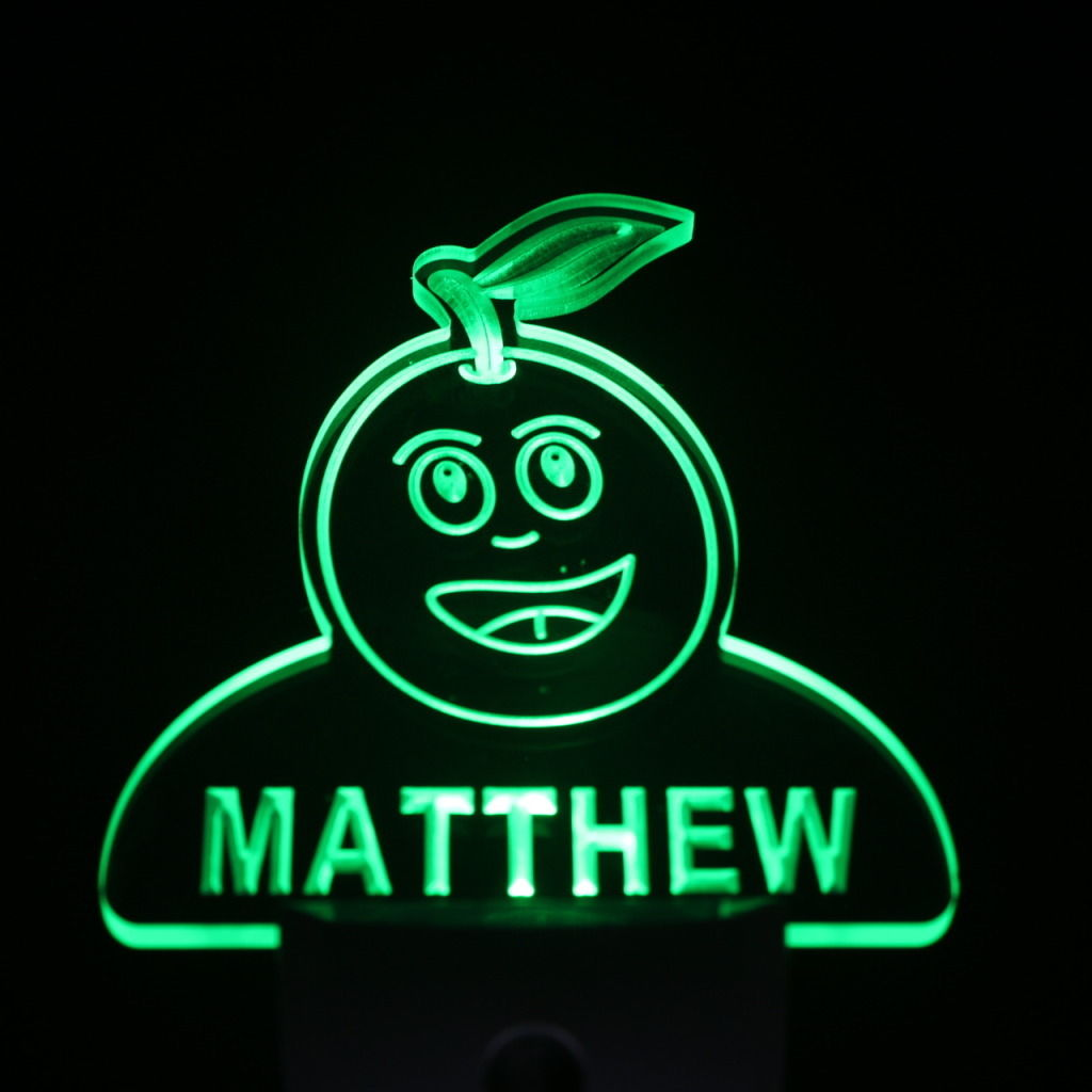 Grape Fruit Personalized Day Night Sensor LED Night Light Green
